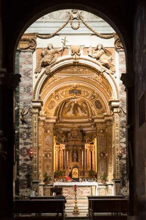 rieti: RIeti (Lazio, Italy), interior of the medieval duomo. Chapel