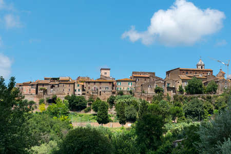 terni day: View of Otricoli (Terni, Umbria, Italy), historic town, at summer, from the road Flaminia