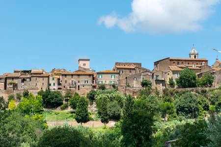 terni: View of Otricoli (Terni, Umbria, Italy), historic town, at summer, from the road Flaminia