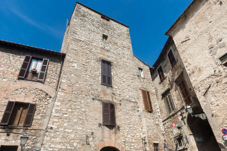 terni day: Panoramic view of Narni (Terni, Umbria, Italy), medieval city: a typical old square Stock Photo