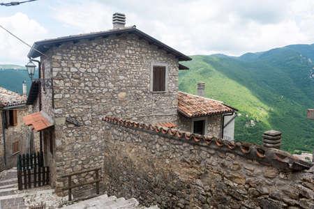 rieti: Morro Reatino (Rieti, Lazio, Italy), historic village: typical old street and view over the valley Stock Photo