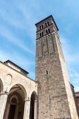 rieti: RIeti (Lazio, Italy), exterior of the medieval duomo Stock Photo
