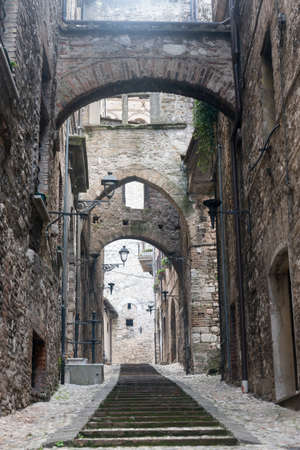 terni day: Panoramic view of Narni (Terni, Umbria, Italy), medieval city: a typical old street