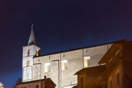 fabrica: Fabrica di Roma (Viterbo, Lazio, Italy) by night. Historic church Editorial