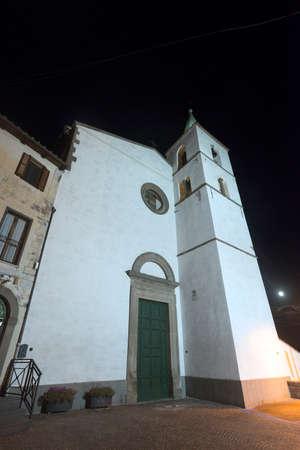 fabrica: Fabrica di Roma (Viterbo, Lazio, Italy) by night. Historic church Stock Photo