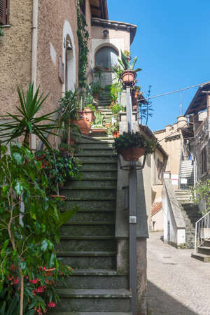 fabrica: Fabrica di Roma (Viterbo, Lazio, Italy): medieval town, a typical street Stock Photo