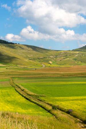 castelluccio: Piano Grande di Castelluccio (Perugia, Umbria, Italy), famous plateau in the natural park of Monti Sibillini Stock Photo