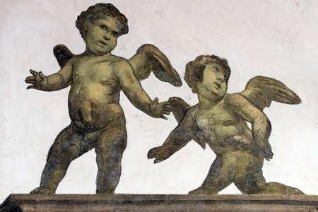 Tolentino (Macerata, Marches, Italy): the cloister of the historic San Nicola church: fresco