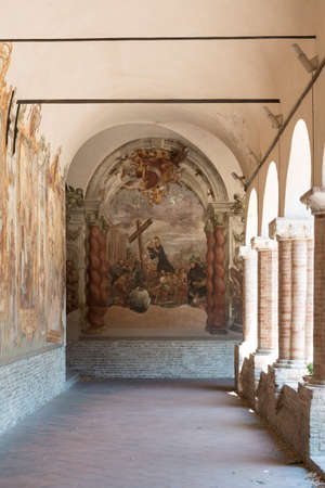 italian fresco: Tolentino (Macerata, Marches, Italy): the cloister of the historic San Nicola church
