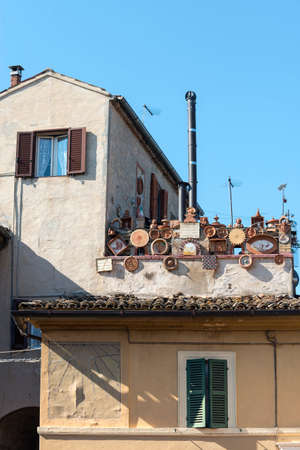 recanati: Recanati (Macerata, Marches, Italy): pottery (terracotta) on the terrace of old house Editorial