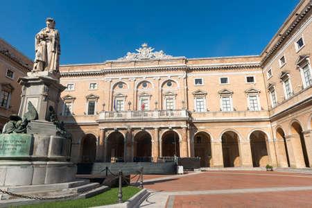 recanati: Recanati (Macerata, Marches, Italy): main square with palace and statue of Giacomo Leopardi (1898)
