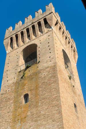 recanati: Recanati (Macerata, Marches, Italy): historic tower in the main square of the city Stock Photo