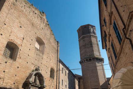 recanati: Recanati (Macerata, Marches, Italy): historic buildings: tower and church Stock Photo