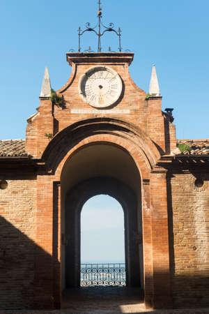 recanati: Recanati (Macerata, Marches, Italy): historic buildings: arch and clock