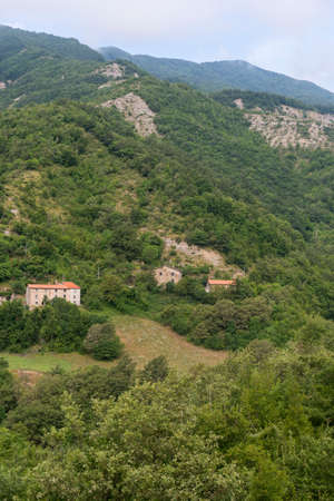 appennino: Mountain landscape in Montefeltro (Marches, Italy) at summer. Old village