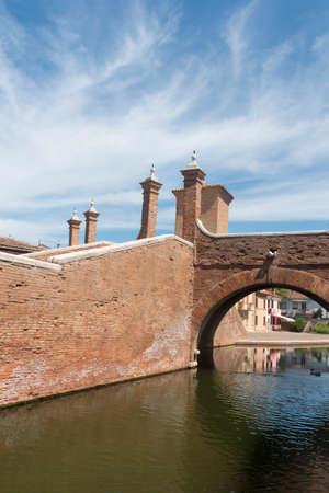 comacchio: Comacchio (Ferrara, Emilia-Romagna, Italy): the typical city with its canals. The famous bridge named Trepponti