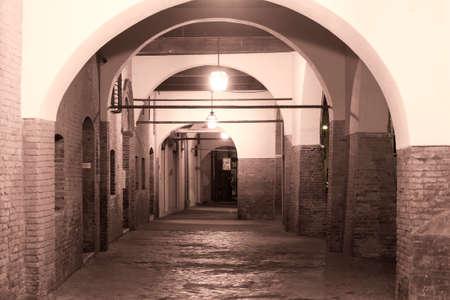 portico: Ferrara (Emilia-Romagna, Italy): a typical portico at evening