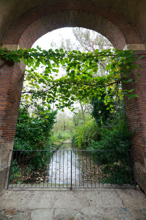 watermill: Historic watermill in the Monza Park (Lombardy, Italy) at fall Stock Photo