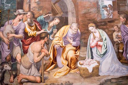 italian fresco: Milan (Lombardy, Italy): the historic church named Certosa di Garegnano, interior Editorial