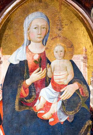 massa: Codiponte (Massa e Carrara, Tuscany, Italy), old village in Lunigiana: the medieval church of Saints Cornelio and Cipriano, built in 12th century, interior. Triptych.