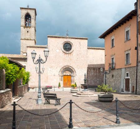 rieti: The historic church of  San Francesco in Leonessa (Rieti, Lazio, Italy) Stock Photo