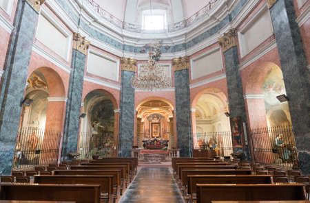 15th century: Interior of the Sanctuary of Varallino in Galliate (Novara, Piedmont, Italy), built in 15th century, with works by Dionigi Bussola (1615-1687), sculptor, and Lorenzo Peracino (1710-1789), painter Editorial
