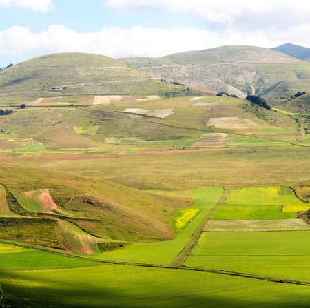 monti: Piano Grande di Castelluccio (Perugia, Umbria, Italy), famous plateau in the natural park of Monti Sibillini Stock Photo