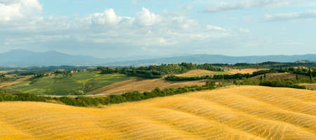 характеристика: Crete senesi, characteristic landscape in Val dOrcia (Siena, Tuscany, Italy), at summer.