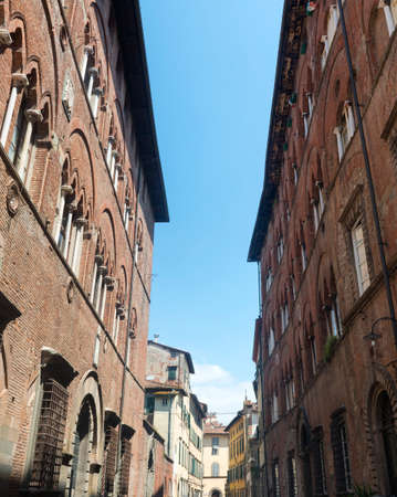 italy street: Lucca (Tuscany, Italy), street with historic buildings