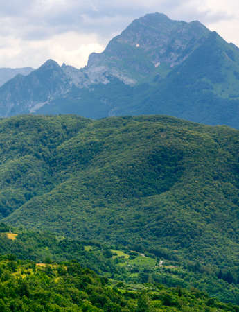 carrara: Foce Carpinelli, mountaIn landscape between Lunigiana and Garfagnana (Tuscany, Italy) at summer