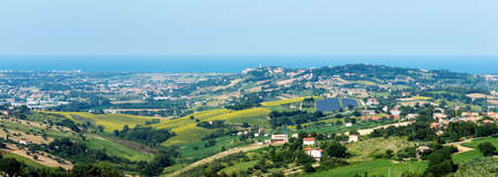 recanati: Recanati (Macerata, Marches, Italy): landscape at summer from a terrace: hills and sea