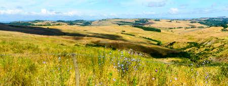 characteristic: Crete senesi, characteristic landscape in Val dOrcia (Siena, Tuscany, Italy), at summer.