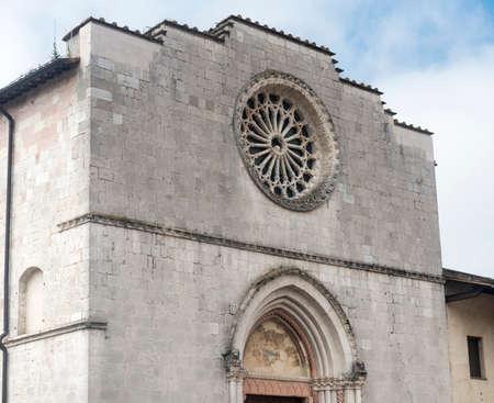 norcia: Norcia (Perugia, Umbria, Italy): facade of a medieval church