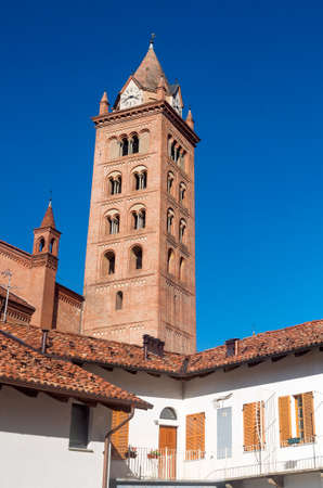 belfry: Alba (Cuneo, Piedmont, Italy): belfry of the cathedral at morning