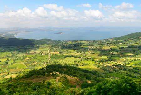lazio: Panoramic view over the Lake of Bolsena from Montefiascone (Viterbo, Lazio, Italy) at summer