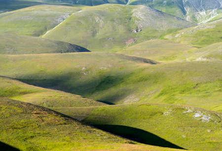 sibillini: Piano Grande di Castelluccio (Perugia, Umbria, Italy), famous plateau in the natural park of Monti Sibillini Stock Photo
