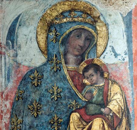 rieti: RIeti (Lazio, Italy), interior of the medieval duomo. Detail of painting Editorial