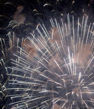 riviera: Fireworks at Rapallo (Genoa, Liguria, Italy), in the Riviera Ligure Stock Photo