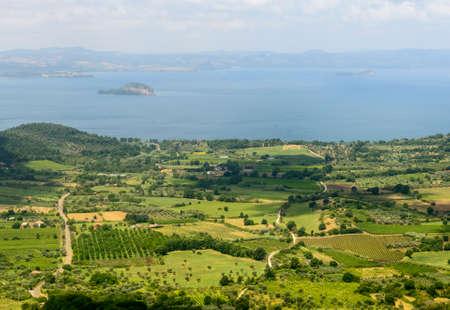 viterbo: Panoramic view over the Lake of Bolsena from Montefiascone (Viterbo, Lazio, Italy) at summer