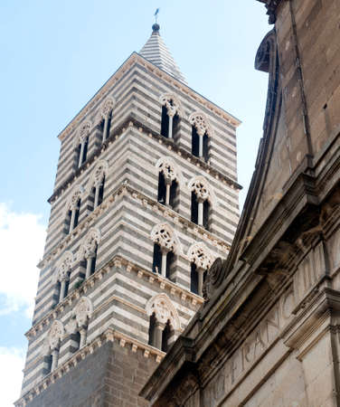 belfry: Viterbo (Lazio, Italy), facade and belfry of the medieval cathedral. Stock Photo