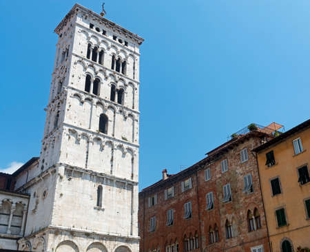 or san michele: Lucca (Tuscany, Italy), medieval church of San Michele in Foro Stock Photo