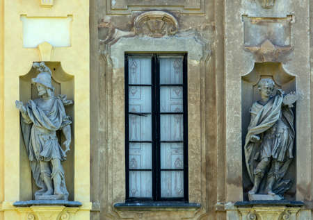 18th: Milan (Lombardy, Italy): Villa Arconati, historic villa built in 18th century. Statues and window Editorial