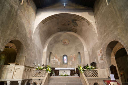 10th: Agliate Brianza (Monza, Lombardy, Italy): interior of the medieval church, in Romanesque style, built in the 10th century