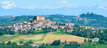 cavour: Summer landscape in Langhe (Piedmont, Italy), with vineyards, at Grinzane Cavour
