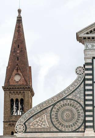 firenze: Florence (Firenze, Tuscany, Italy): the medieval church of Santa Maria Novella, facade detail Stock Photo