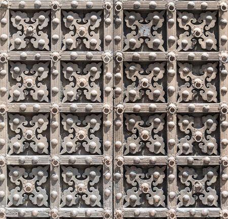 historic buildings: Visso (Macerata, Marches, Italy), historic buildings: wooden door Stock Photo