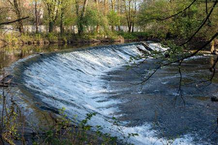 monza: Monza Park (Lombardy, Italy): cascade of the Lambro river at spring