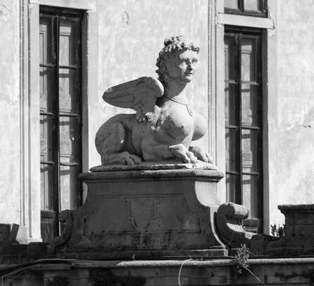 18th century: Milan (Lombardy, Italy): Villa Arconati, historic villa built in 18th century. Statue
