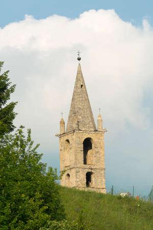 piedmont: Pietraporzio (Valle di Demonte, Cuneo, Piedmont, Italy): the historic belfry