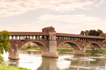 architecture  building: Pavia (Lombardy, Italy): the famous covered bridge over the Ticino river Stock Photo